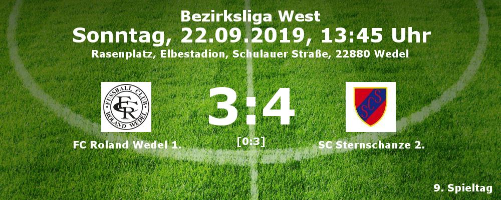 Bezirksliga West, Saison 2019/20, 9. Spieltag: FC Roland Wedel I. - SC Sternschanze II.