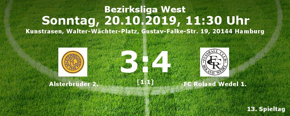 Liga 2019-20 FC Alsterbrüder 1. - FC Roland Wedel 1. 3:4 (1:1) am 20.10.2019